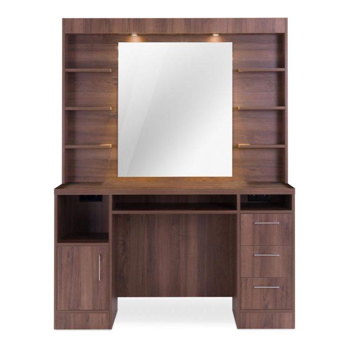 meuble de barbier en bois avec étagères tiroirs, grand miroir et éclairage