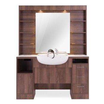 Poste de barbier moderne et rétro avec évier et douchette, étagères, tiroirs et éclairage