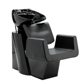 bac en shampoing avec structure noir brillant et fauteuil large