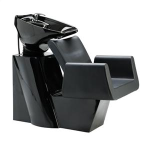 bac à shampoing noir avec fauteuil large