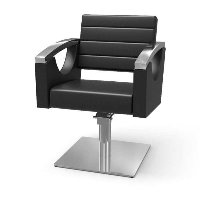 Siège de coiffure large avec finitions en similicuir noir et métal chromé, grand pied carré