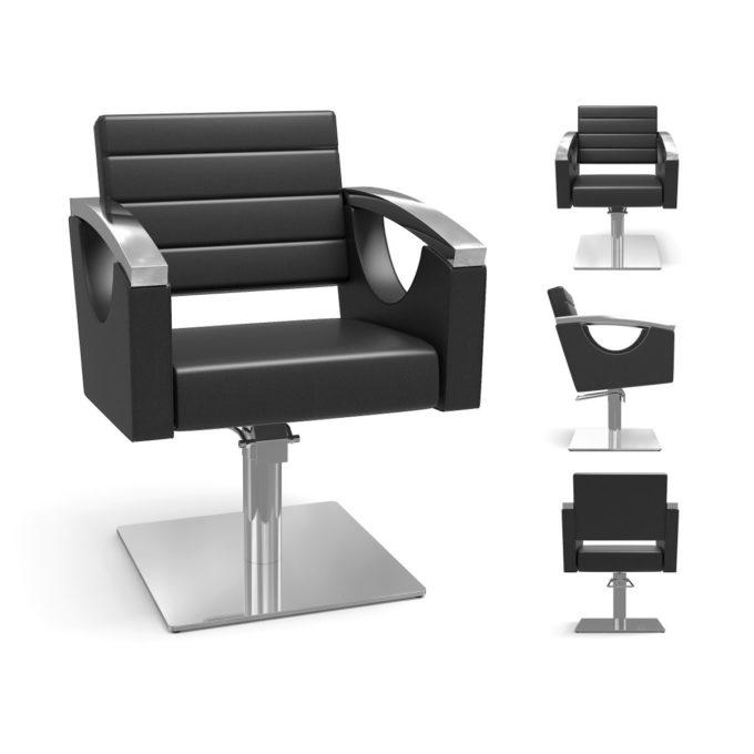 fauteuil de coiffage avec pieds aux choix, carre, étoile, rond