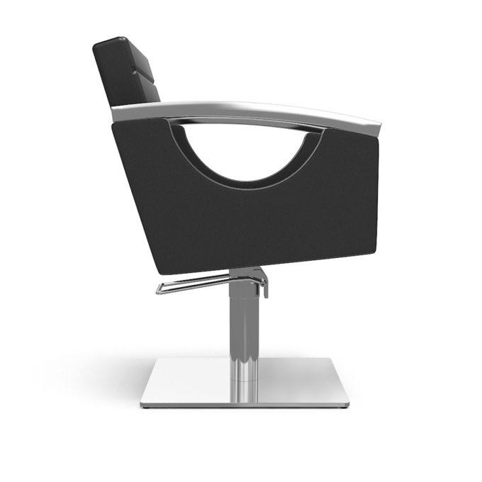 fauteuil noir avec pied carré et accoudoirs en métal