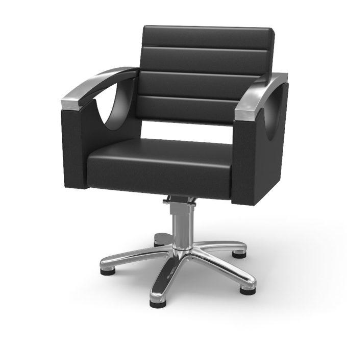 chaise de coiffure noir et métal