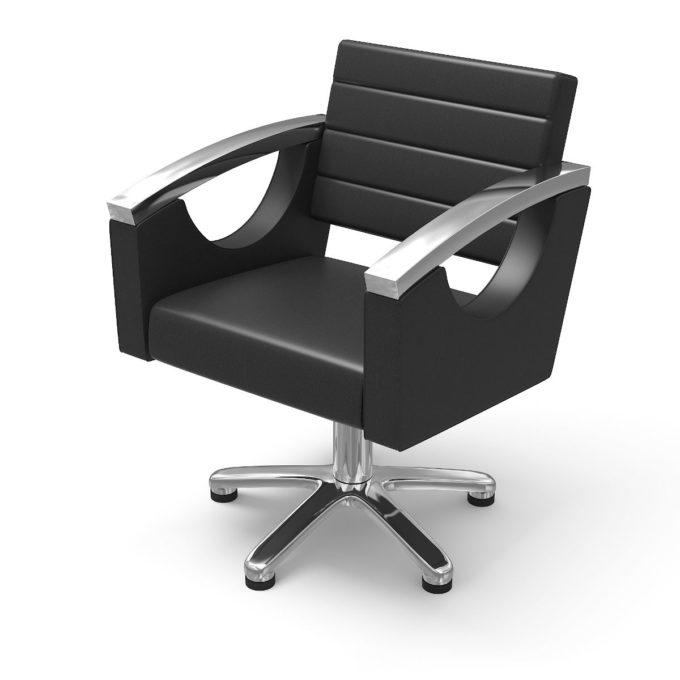 siège de coiffure noir avec pied étoile et accoudoirs métal