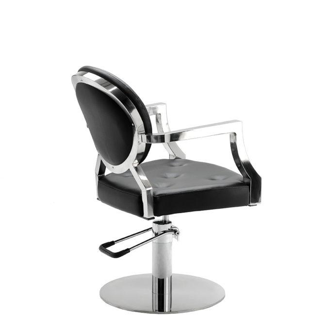 fauteuil rock n roll avec finitions similicuir noir et chromé