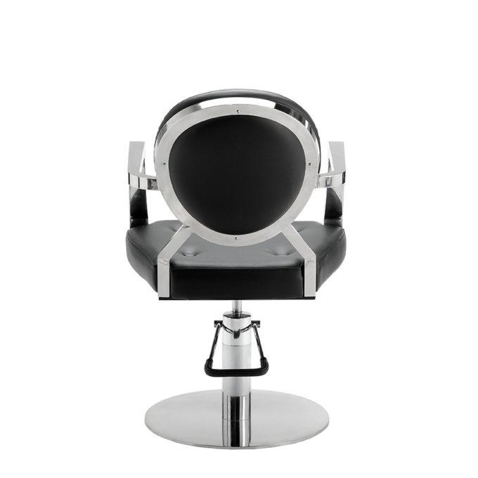 chaise de coiffeur pied rond chromé noir et métal brillant