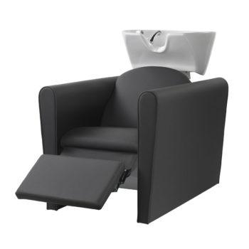 Bac de lavage avec repose jambes électrique noir vasque blanche, confortable, peu spacieux