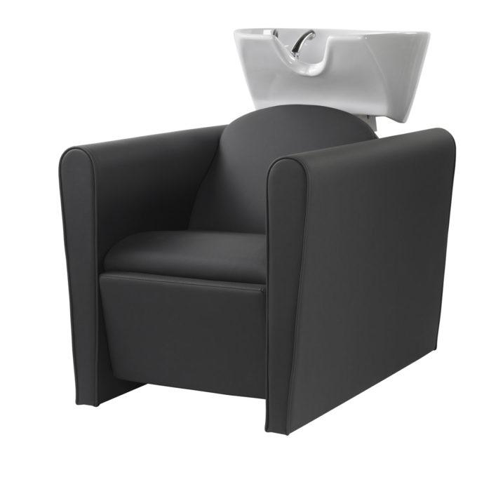 Bac de lavage avec grands accoudoirs confortable noir et vasque blanche