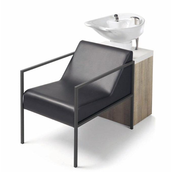 Bac à shampoing économique avec vasque blanche, rangement en bois effet naturel et strucutre en métal noir
