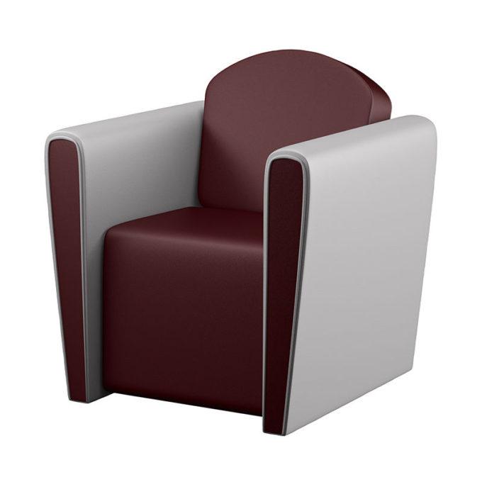 Fauteuil confortable 1 place rouge et blanc en similicuir