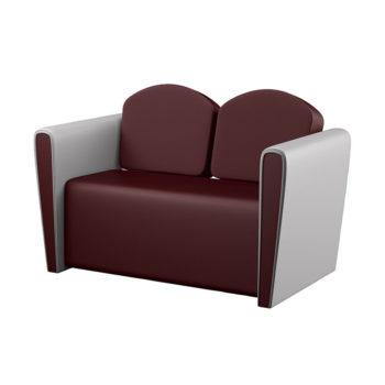 Canapé d'attente pour salon de coiffure rouge et blanc avec rembourrage haute densité, 2 places