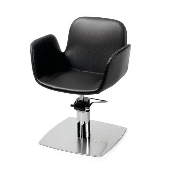 Fauteuil monobloc de coiffure noir avec pied carré ou étoile en métal brillant réglable en hauteur