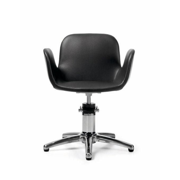 fauteuil noir de coiffure avec pied étoile assise large en pvc