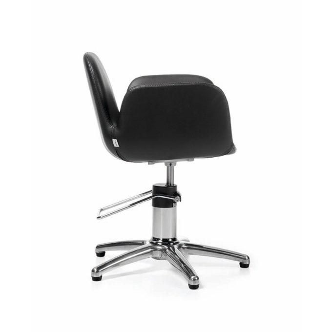 fauteuil de coiffeur noir monobloc avec pied étoile et pompe hydraulique