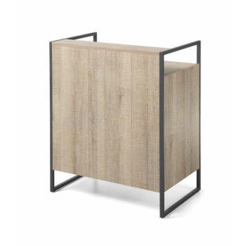Meuble de réception et caisse en stratifié bois et structure en métal noir avec étagères et tiroir
