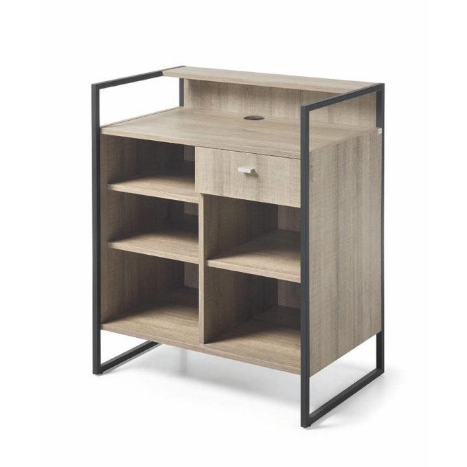 meuble caisse avec tiroir et étagère bois et métal noir