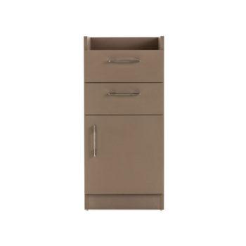 Meuble de rangement, deux tiroirs, un placard en bois laminé couleur taupe