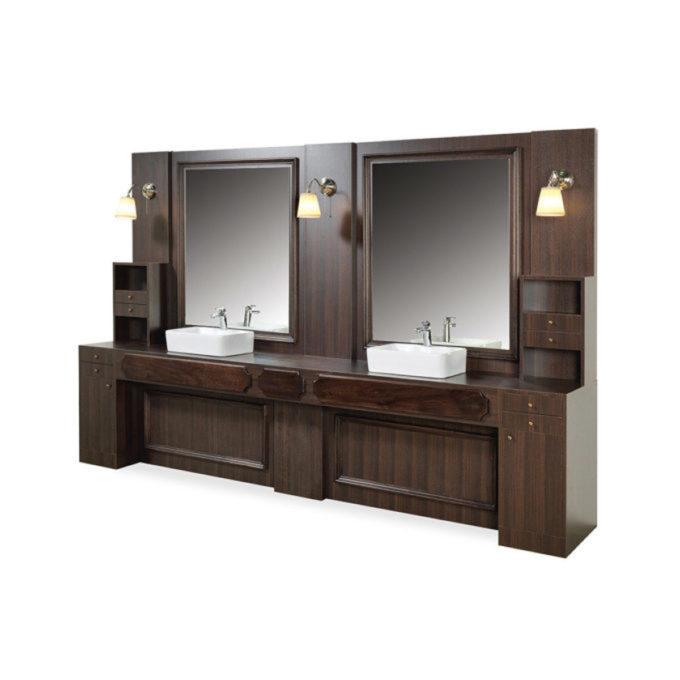 Meuble 2 places avec grands miroirs structure en bois avec étagères et vasques en céramique avec douchettes
