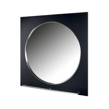 Grand miroir rond dans contour carré en stratifié noir pour salon de coiffure avec repose pieds