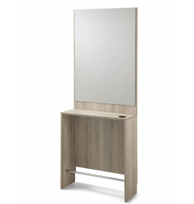 Coiffeuse avec rangement, porte sèche cheveux, repose pieds en métal, structure en bois stratifié avec grand miroir argent