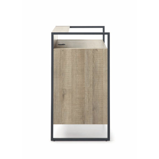 meuble de réception Maro en métal noir avec finition bois clair