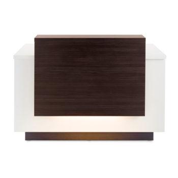 Meuble caisse structure blanche avec partie frontale en stratifié bois naturel foncé, nombreux rangement et éclairage