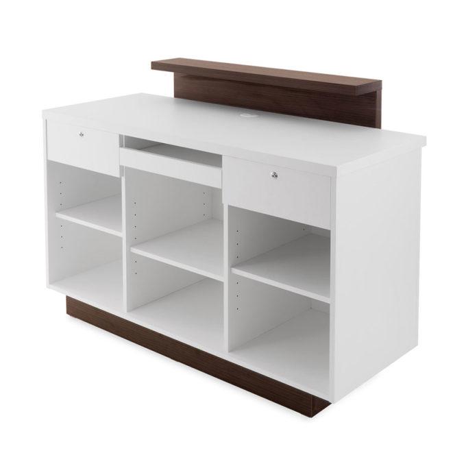 meuble caisse blanc et bois avec tiroirs à clé, étagères et tablette extractible pour clavier