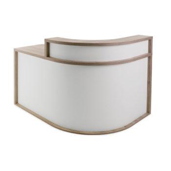 Meuble caisse de réception arrondi avec structure en bois stratifié effet naturel et partie frontale blanche