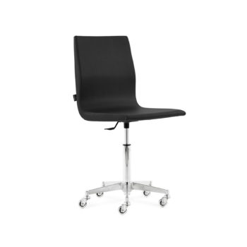 Chaise de manucure pour salon de beauté avec roulettes et réglage de la hauteur, finition en pvc noir
