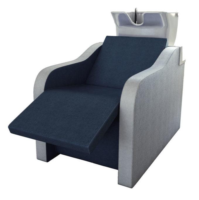 bac de lavage bleu et blanc avec repose jambes électrique