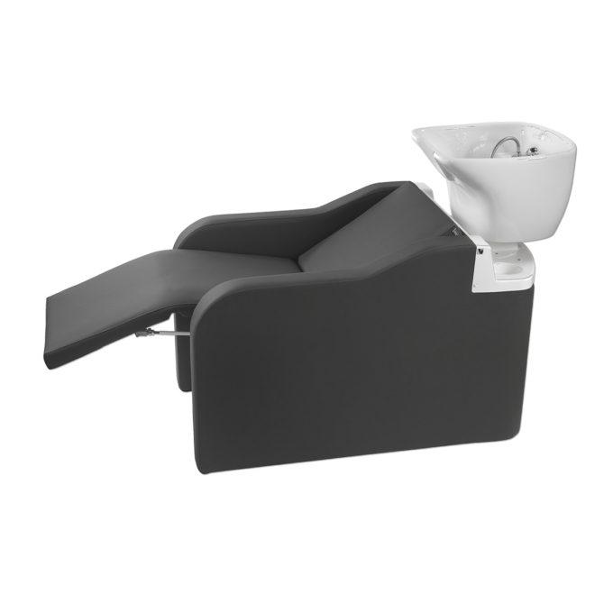 bac à shampoing relax existe avec air massage noir vasque blanche