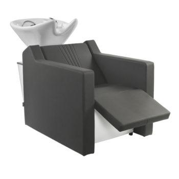 Bac à shampoing noir avec finitions rayées sur le dossier, air massage et repose jambes électrique