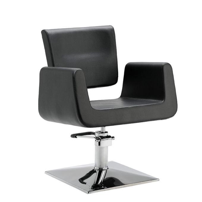 chaise de coiffure large avec grand accoudoirs et dossier haut, pied carré brillant facile à nettoyer