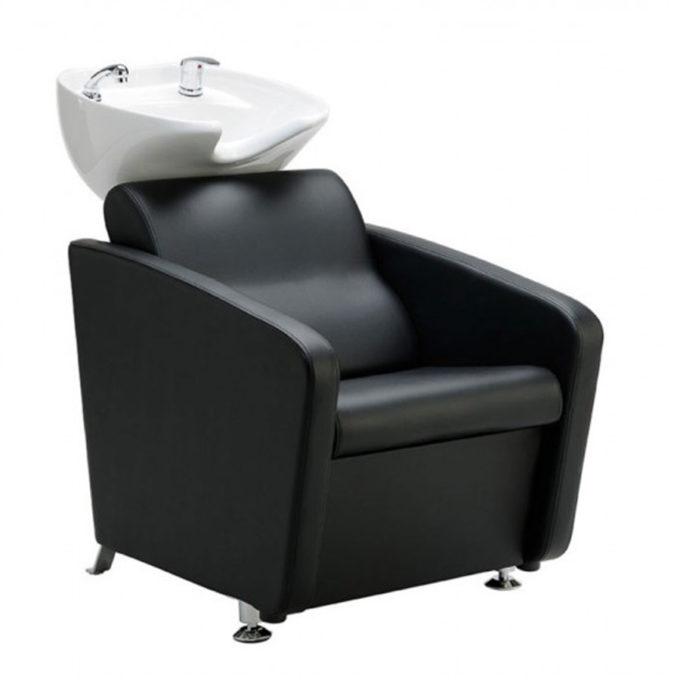 Bac de lavage simple et économique noir avec vasque blanche et robinetterie