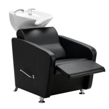 Bac à shampoing avec repose jambes manuel économique et robuste, évier blanc et fauteuil rembourré