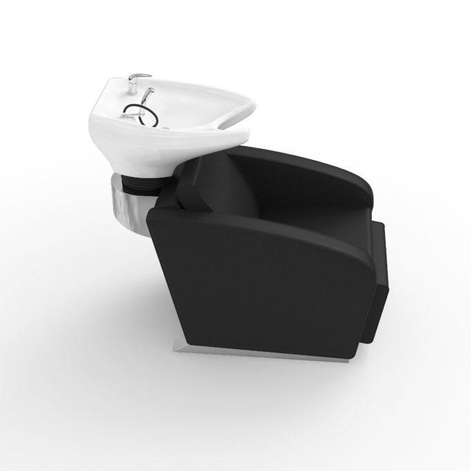 Bac de lavage noir contemporain avec socle gris et lavabo blanc