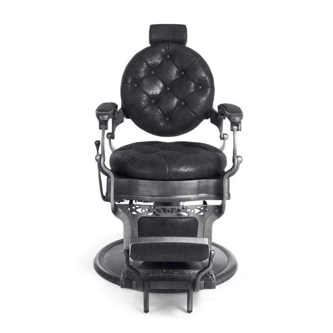 fauteuil barbier avec appuie tête extensible et repose-pieds