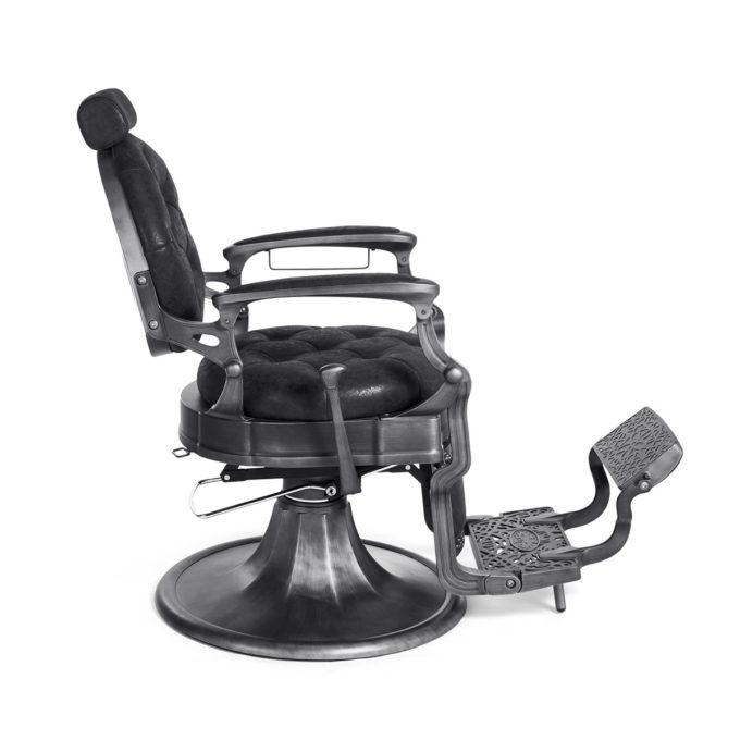 fauteuil barbier design rétro ancien noir et métal