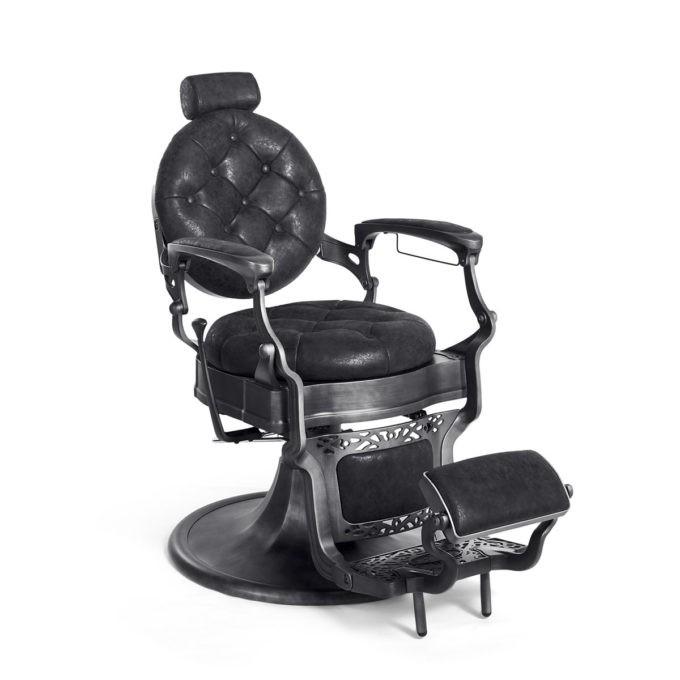 Fauteuil de barbier noir avec finition en métal noir mate, hauteur et inclinaison réglable
