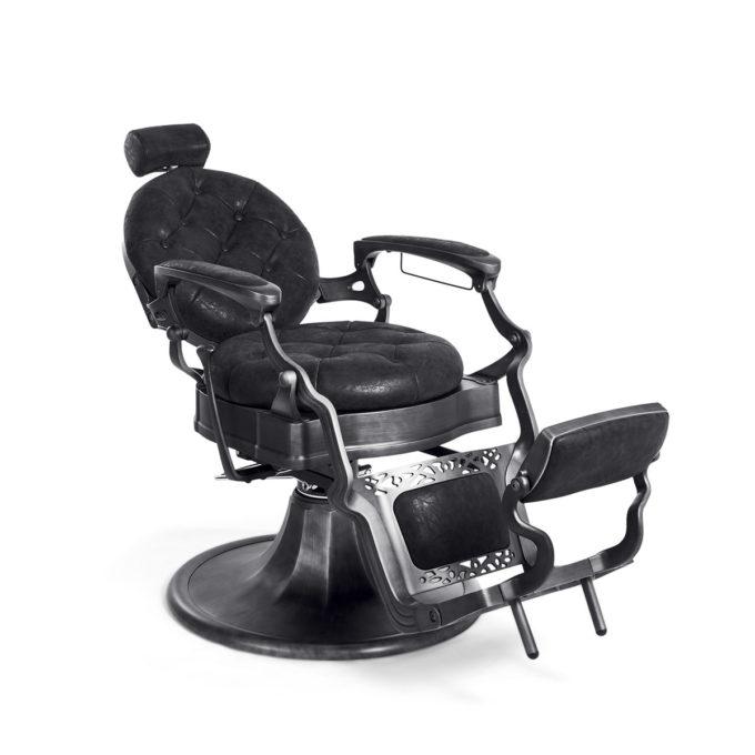 fauteuil de barbier inclinable rétro noir dossier et assise ronde