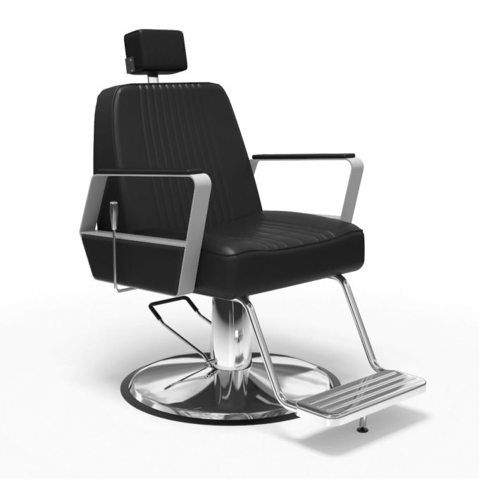 Fauteuil de barbier noir avec finition chromé, repose pied et appuie tête, inclinable et réglable hauteur
