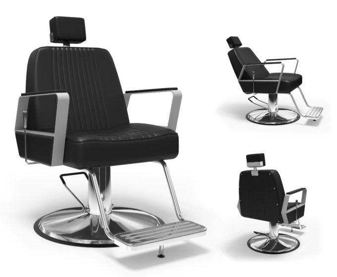 siège noir de barbier avec pieds chromés et repose pieds
