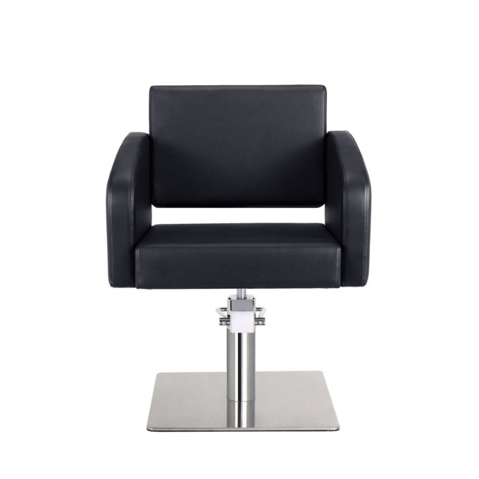 Fauteuil noir avec pied carré et pompe hydraulique