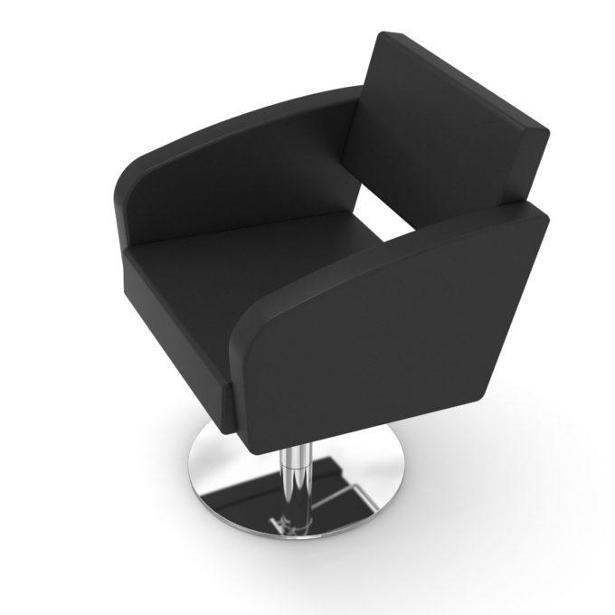 fauteuil coiffure noir confortable avec pied rond