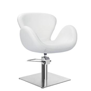 Fauteuil de coiffeur monobloc et ergonomique blanc avec pied rond en métal brillant, facile à nettoyer, léger et robuste