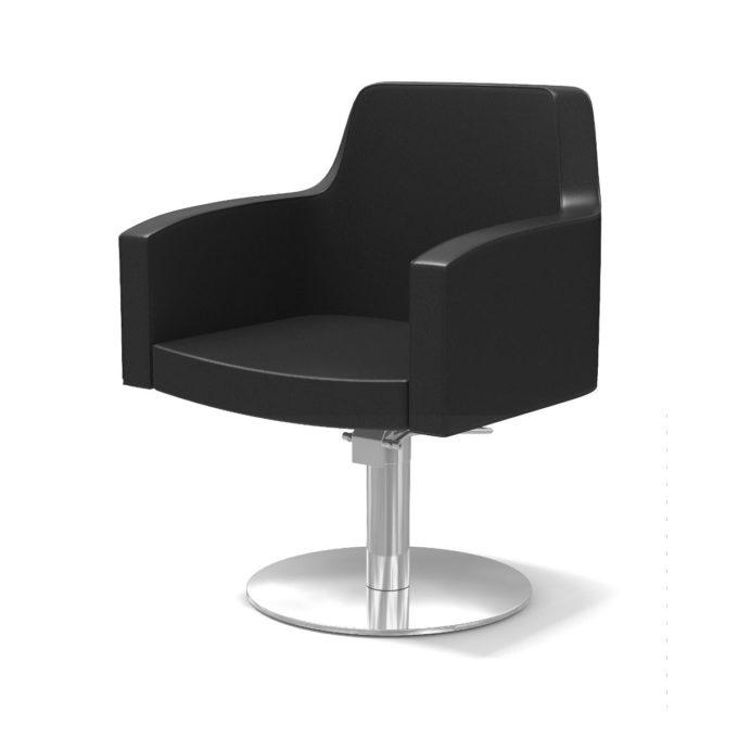 fauteuil de coiffure noir avec pied rond chromé
