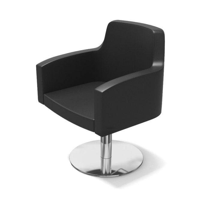siège de coiffure noir avec pied chromé rond