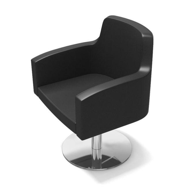 chaise noir pied chromé brillant dossier haut