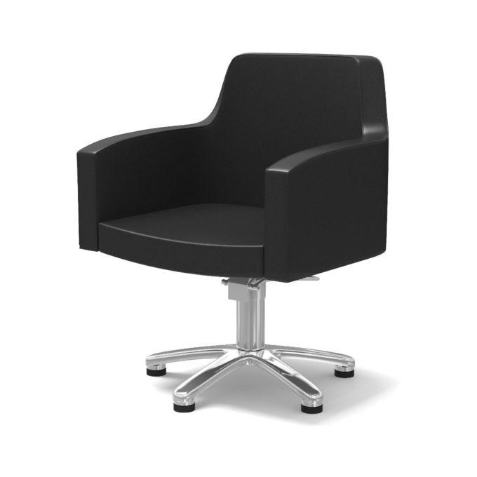 Siège de coiffure noir avec siège large et dossier haut, pied étoile en métal brillant